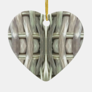 Nuetral Gray Toned Weave Pattern Ceramic Ornament