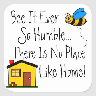 Nueva abeja casera de las propiedades pegatina cuadrada