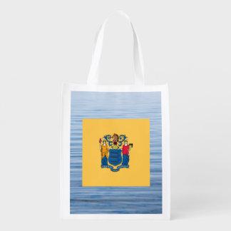 Nueva bandera de Jerseyan que flota en el agua Bolsas Para La Compra