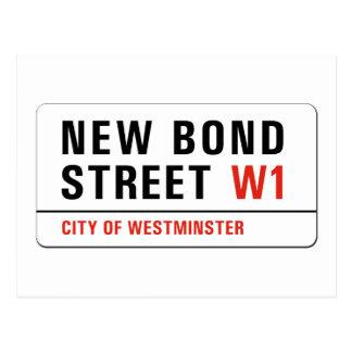 Nueva calle en enlace, placa de calle de Londres Tarjetas Postales