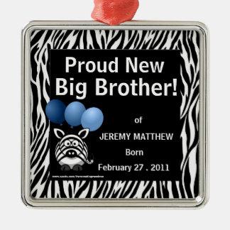 Nueva cebra orgullosa del azul de hermano mayor adorno navideño cuadrado de metal