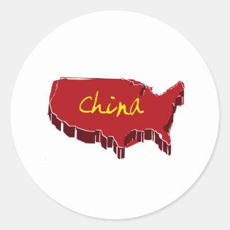 NUEVA CHINA PEGATINA REDONDA
