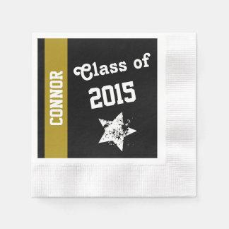NUEVA clase del GRADUADO del negro 2015 con la Servilletas Desechables
