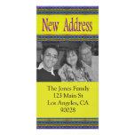 nueva dirección azul amarilla tarjetas personales con fotos