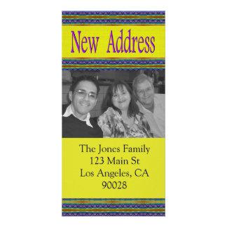 nueva dirección azul amarilla tarjeta fotográfica personalizada