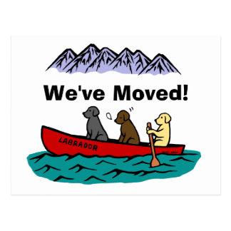 Nueva dirección Canoeing de los labradores retriev Tarjeta Postal