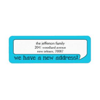 Nueva dirección de la burbuja brillante/invitación etiqueta de remitente