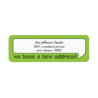 Nueva dirección de la burbuja brillante/invitación etiquetas de remite