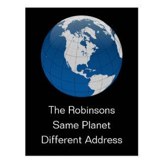 Nueva dirección el mismo planeta tarjetas postales