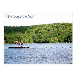 Nueva dirección en la invitación móvil del lago postales