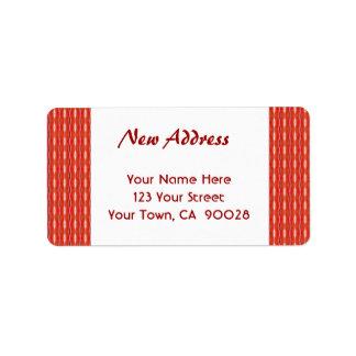 Nueva dirección roja etiqueta de dirección