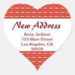 Nueva dirección roja calcomania de corazon personalizadas