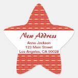 Nueva dirección roja pegatina en forma de estrella