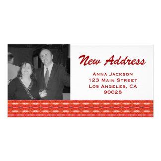 Nueva dirección roja tarjetas personales con fotos