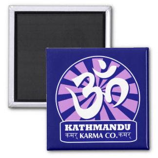 Nueva edad de Katmandu y símbolo budista de OM Imán Cuadrado
