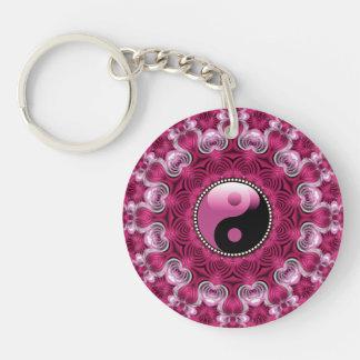 Nueva edad YinYang del amor rosado geométrico Llavero Redondo Acrílico A Doble Cara