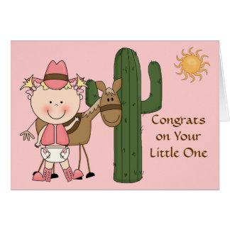 Nueva enhorabuena de la niña y del potro - tarjeta de felicitación
