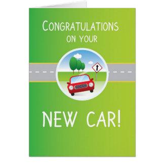 Nueva enhorabuena del coche, coche en el camino tarjeta de felicitación