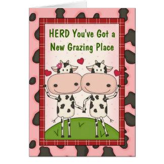 Nueva enhorabuena del comprador de vivienda - vaca tarjeton