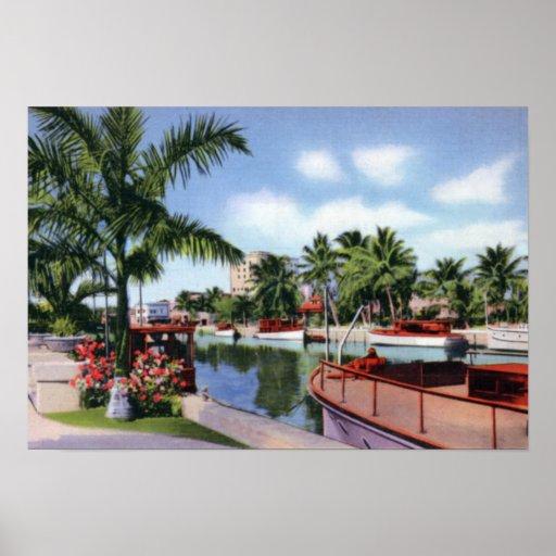 Nueva escena del río del Fort Lauderdale 1930 Poster