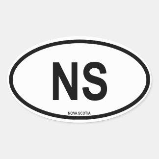 """Nueva Escocia """"NS """" Pegatina Ovalada"""