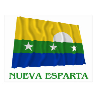 Nueva Esparta Waving Flag with Name Postcard