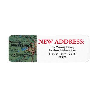 Nueva etiqueta de dirección de Minneapolis