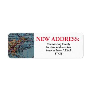 Nueva etiqueta de dirección de Philadelphia