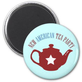 Nueva fiesta del té americana imán redondo 5 cm