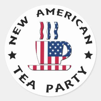 Nueva fiesta del té americana etiqueta redonda
