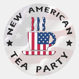 Nueva fiesta del té americana etiquetas redondas