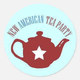 Nueva fiesta del té americana pegatina redonda
