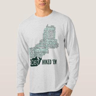 Nueva Inglaterra 67 caminó la camiseta larga de la Remeras