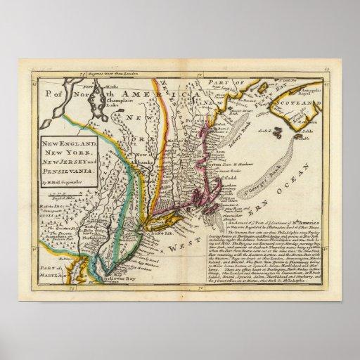 Nueva Inglaterra, Nueva York, New Jersey y Pennsyl Poster
