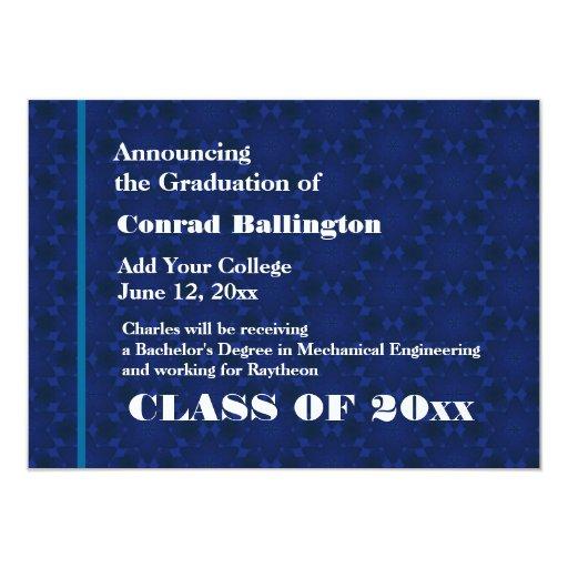 Nueva invitación blanca azul del graduado