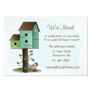 Nueva invitación de la dirección de los Birdhouses Invitación 12,7 X 17,8 Cm