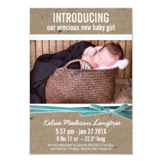 Nueva invitación del bebé con la foto grande