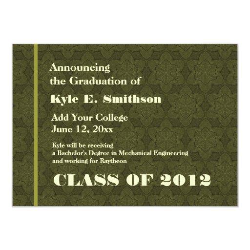 Nueva invitación del graduado de la textura verde