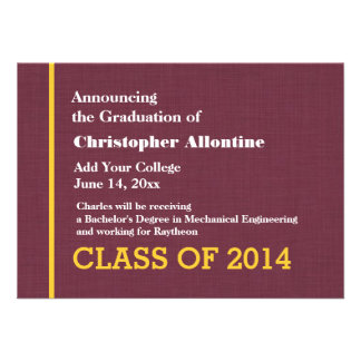 Nueva invitación del graduado del oro marrón cualq