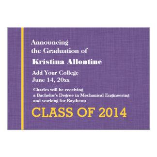 Nueva invitación del graduado del oro púrpura cual