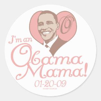 Nueva mamá 2009 engranaje de Obama Etiquetas Redondas