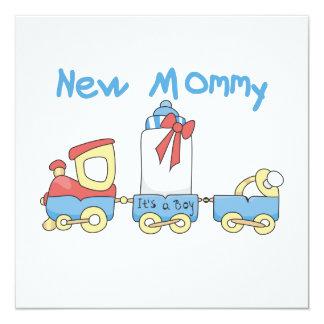 """Nueva mamá del tren es regalos de un muchacho invitación 5.25"""" x 5.25"""""""
