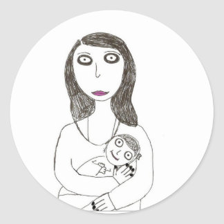 Nueva mamá espeluznante pegatina redonda