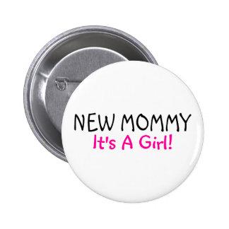 Nueva mamá su un negro del rosa del chica pin redondo de 2 pulgadas
