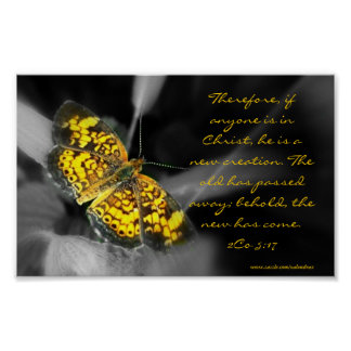 Nueva mariposa del amarillo de la creación poster