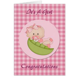 Nueva niña de la enhorabuena en un rosa de la tarjeton