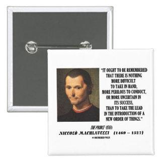 Nueva pedido de Niccolo Machiavelli de la cita de  Pin Cuadrada 5 Cm