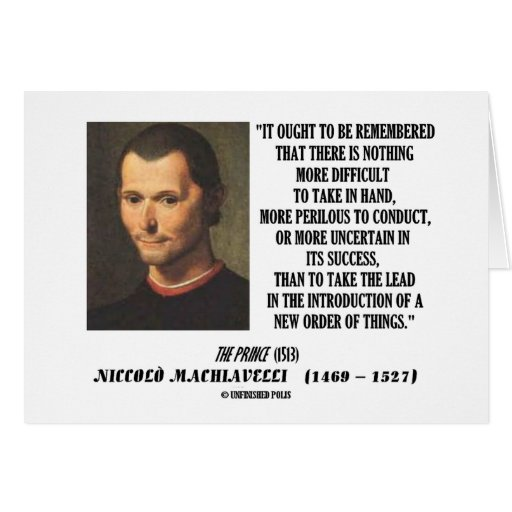 Nueva pedido de Niccolo Machiavelli de la cita de  Tarjeta De Felicitación