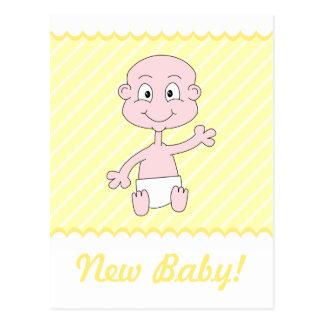 Nueva postal linda del bebé. Amarillo y blanco