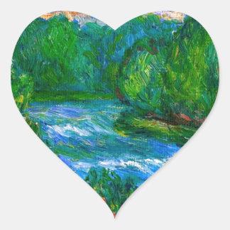 Nueva precipitación del río pegatina en forma de corazón